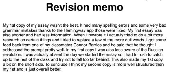 Revision Memo Examples | HistoryRewriter